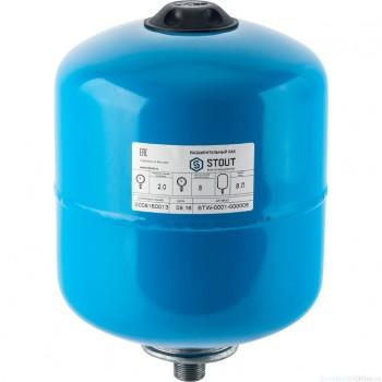 Гидроаккумулятор 8 л. вертикальный (цвет синий) для водоснабжения STOUT