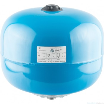 Гидроаккумулятор 24 л. вертикальный (цвет синий) для водоснабжения STOUT