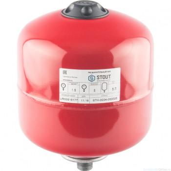 Расширительный бак на отопление 5 л. STOUT (цвет красный)