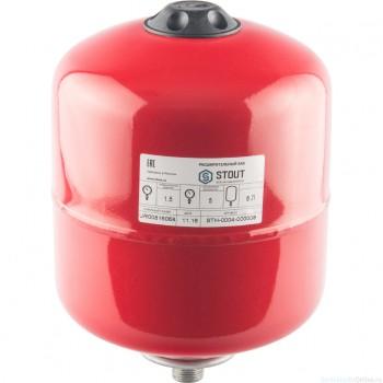 Расширительный бак на отопление 8 л. STOUT (цвет красный)