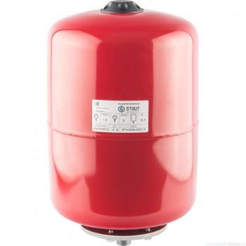 Расширительный бак на отопление 18 л. STOUT (цвет красный)