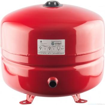 Расширительный бак на отопление 35 л. STOUT (цвет красный)