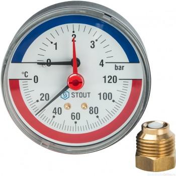 """Термоманометр аксиальный в комплекте с автоматическим запорным клапаном. Корпус Dn 80 мм 1/2"""", 0...120°C, 0-4 бар."""