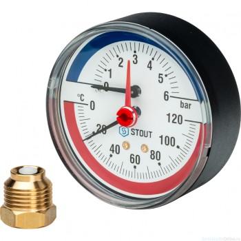"""Термоманометр аксиальный в комплекте с автоматическим запорным клапаном. Корпус Dn 80 мм 1/2"""", 0...120°C, 0-6 бар."""