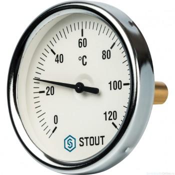 """Термометр биметаллический с погружной гильзой. Корпус Dn 80 мм, гильза 50 мм 1/2"""", 0...120°С"""