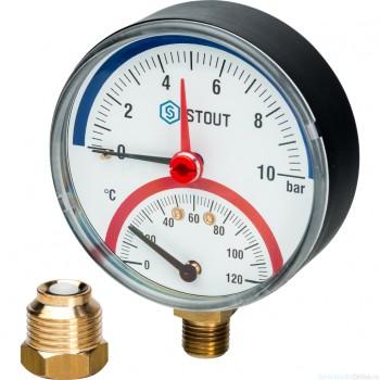 """Термоманометр радиальный в комплекте с автоматическим запорным клапаном. Корпус Dn 80 мм 1/2"""", 0...120°C, 0-10 бар."""