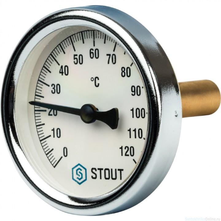 """Термометр биметаллический с погружной гильзой. Корпус Dn 63 мм, гильза 50 мм, резьба с самоуплотнением 1/2"""", 0...120°С"""