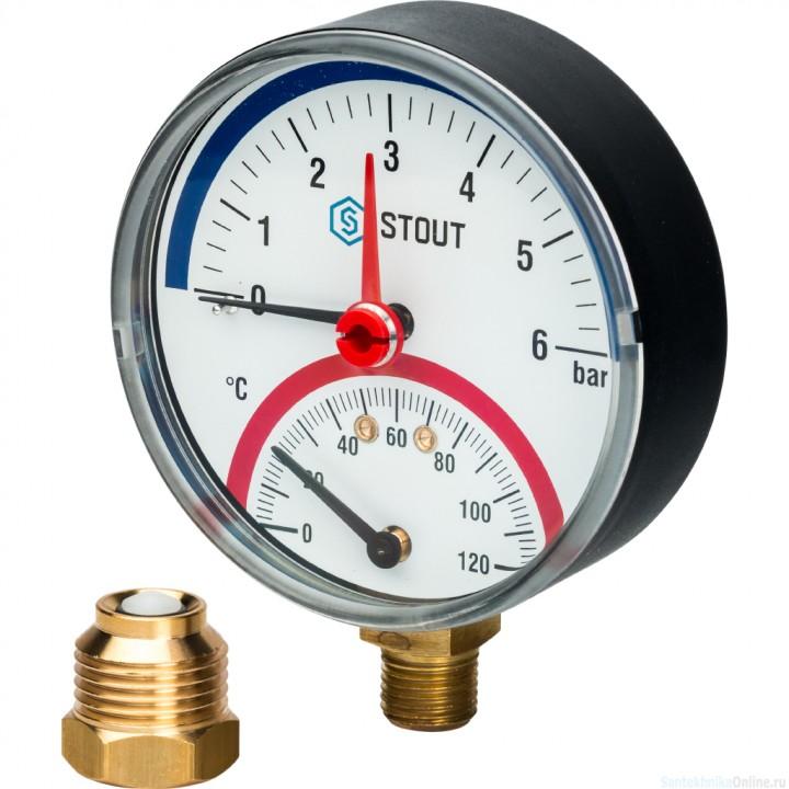 """Термоманометр радиальный в комплекте с автоматическим запорным клапаном. Корпус Dn 80 мм 1/2"""", 0...120°C, 0-6 бар."""