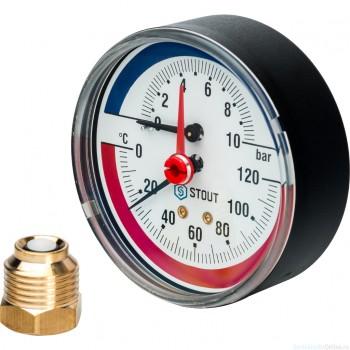 """Термоманометр аксиальный в комплекте с автоматическим запорным клапаном. Корпус Dn 80 мм 1/2"""", 0...120°C, 0-10 бар."""