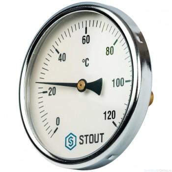 """Термометр биметаллический с погружной гильзой. Корпус Dn 100 мм, гильза 50 мм 1/2"""", 0...120°С"""