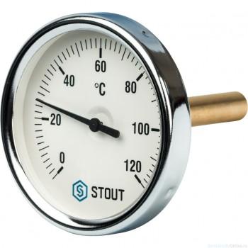 """Термометр биметаллический с погружной гильзой. Корпус Dn 80 мм, гильза 75 мм 1/2"""", 0...120°С"""
