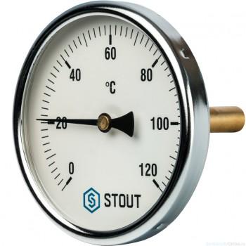 """Термометр биметаллический с погружной гильзой. Корпус Dn 100 мм, гильза 75 мм 1/2"""", 0...120°С"""
