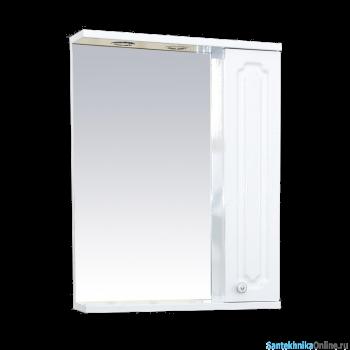 Зеркало-шкаф Misty Александра - 55 зеркало-шкаф прав.(свет) белый мет П-Але04055-352СвП