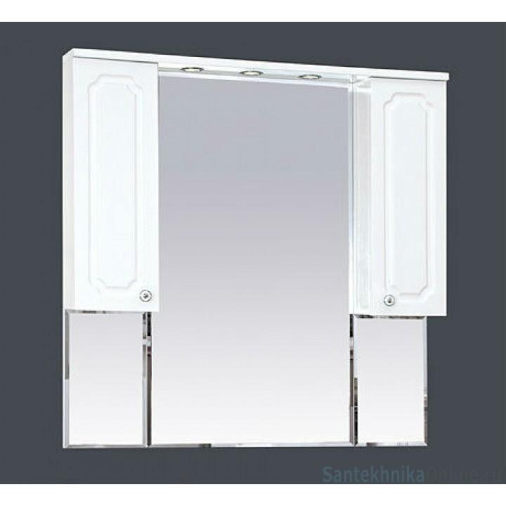 Зеркало-шкаф Misty Александра -105 зеркало-шкаф (свет) белый мет П-Але04105-352Св