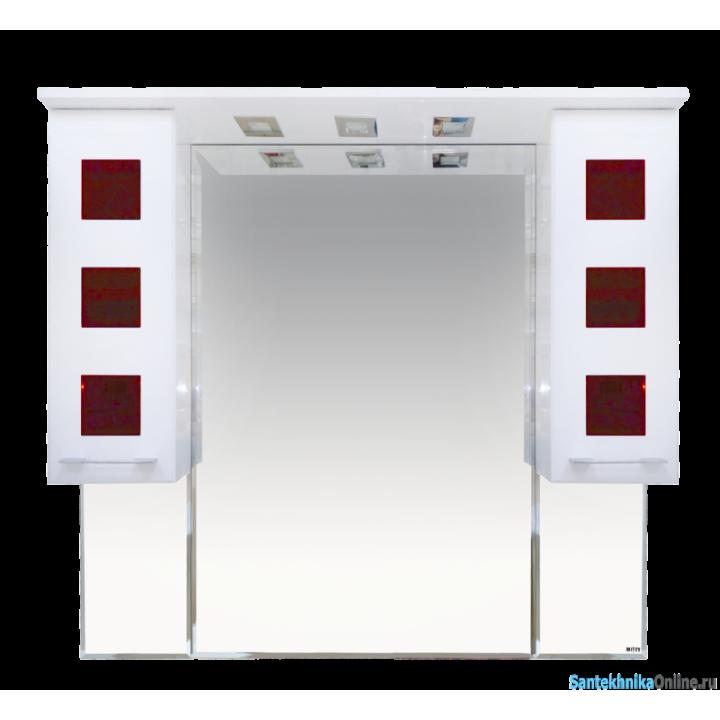 Зеркало-шкаф Misty Кармен -100 Зеркало-шкаф бел.плен/красн.стекло П-Крм04100-2615