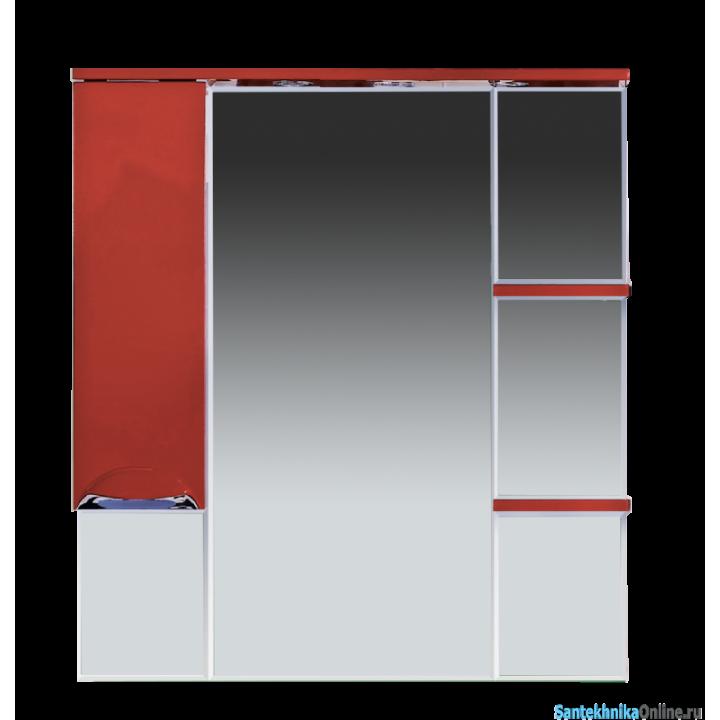 Зеркало-шкаф Misty Кристи - 90 Зеркало - шкаф лев. (свет) красное П-Кри02090-041СвЛ