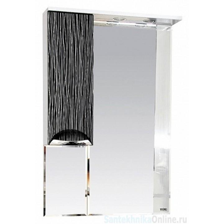 Зеркало-шкаф Misty Лорд - 65 зеркало-шкаф (свет) лев.(комб.бело-черн) П-Лрд04065-232СвЛ