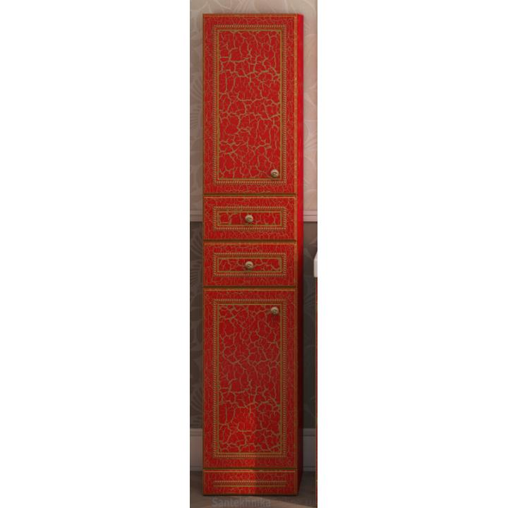 Шкаф-пенал Misty Fresko 35 L с 2-мя ящиками красный патина Л-Фре05035-04172ЯЛ