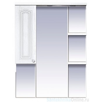 Зеркала Misty Валерия - 75 зеркало - шкаф белое фактур. левое со светом П-Влр02075-37СвЛ