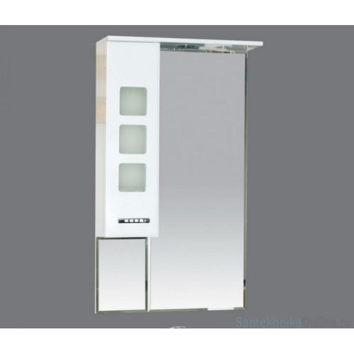 Зеркало-шкаф Misty Квадро - 60 Зеркало - шкаф лев. (свет) белое П-Ква02060-011СвЛ