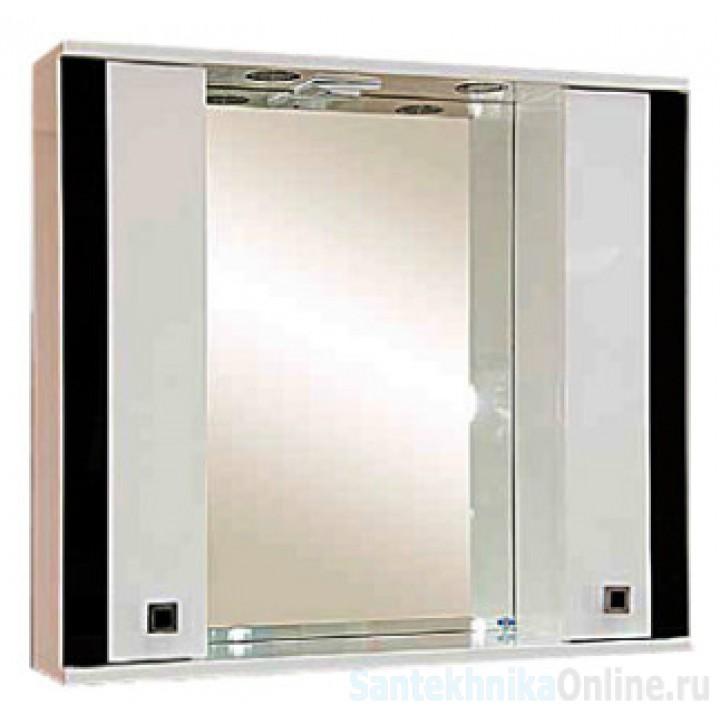 Зеркало-шкаф Misty Палермо 80 черный П-Пал04080-231Св