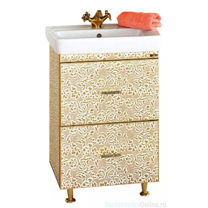 Тумба под раковину Misty Гранд Lux 60 с 2-мя ящиками золотая Флораль Л-Грл01060-1692ЯФл