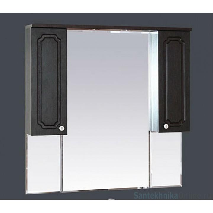 Зеркало-шкаф Misty Александра -105 зеркало-шкаф (свет) ВЕНГЕ П-Але04105-052Св