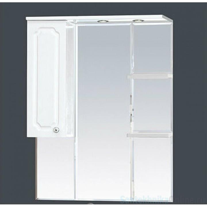 Зеркало-шкаф Misty Александра - 75 зеркало-шкаф лев.(свет) белый мет П-Але04075-352СвЛ
