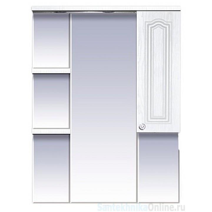 Зеркала Misty Валерия - 75 зеркало - шкаф белое фактур. правое со светом П-Влр02075-37СвП