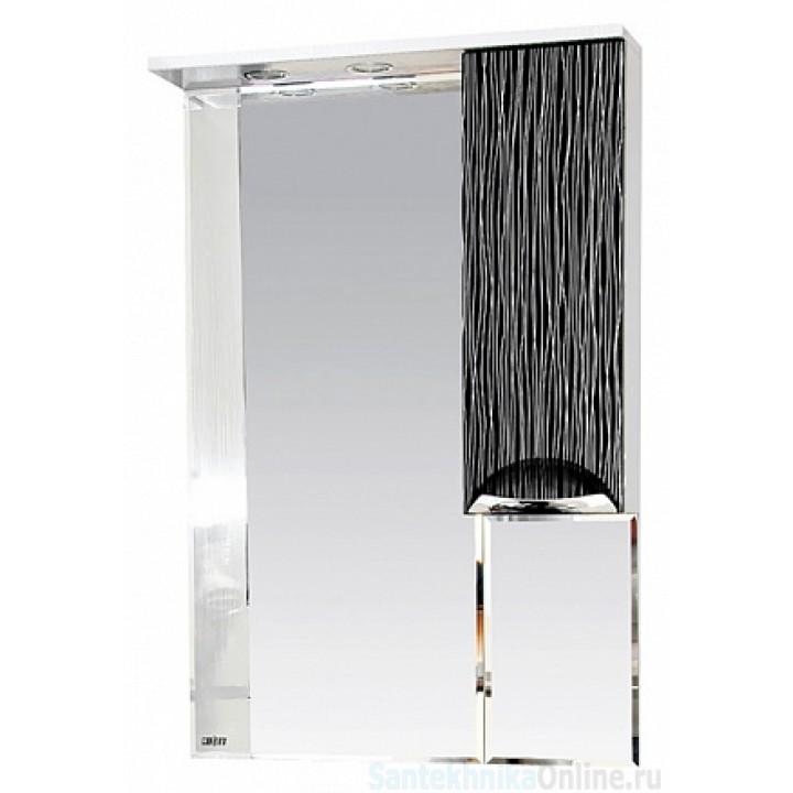 Зеркало-шкаф Misty Лорд - 65 зеркало-шкаф (свет) прав.(комб.бело-черн) П-Лрд04065-232СвП