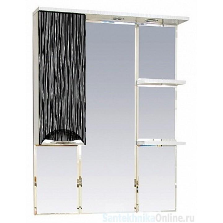 Зеркало-шкаф Misty Лорд - 85 зеркало-шкаф (свет) лев.(комб.бело-черн) П-Лрд04085-232СвЛ