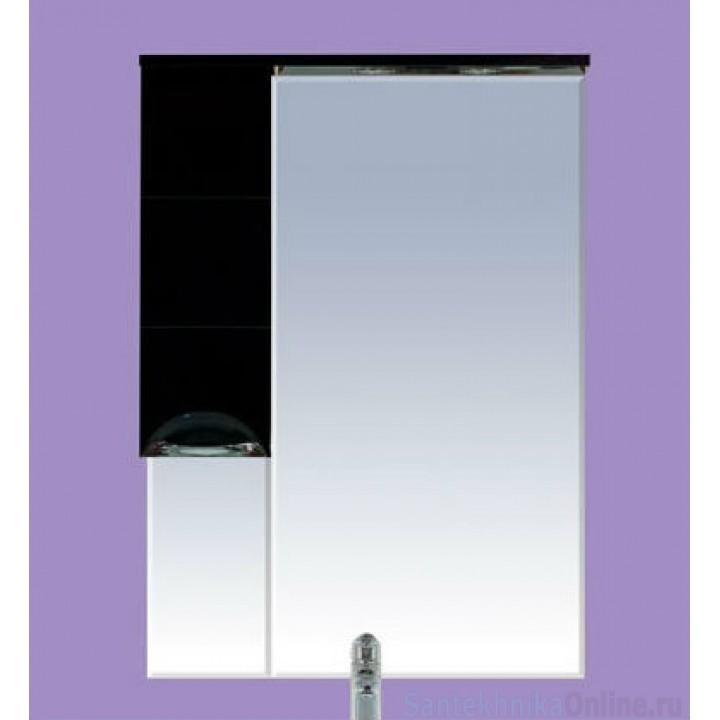 Зеркало-шкаф Misty Петра 75 L черный П-Пет04075-021СвЛ