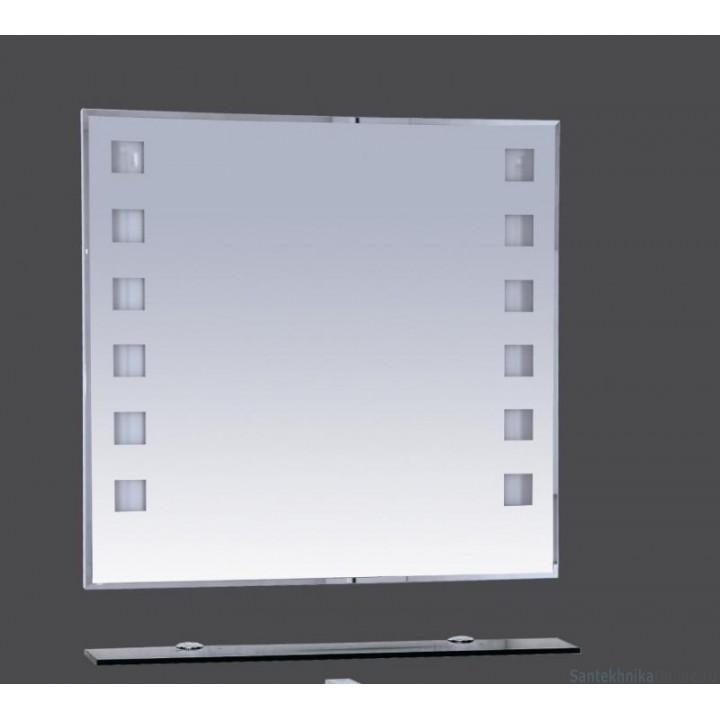 Зеркала Misty Эллада - 90 Зеркало с черной полочкой (свет) П-Элл03090-44Св