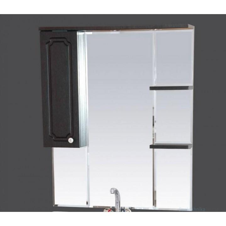 Зеркало-шкаф Misty Александра - 75 зеркало-шкаф лев. (свет) ВЕНГЕ П-Але04075-052СвЛ