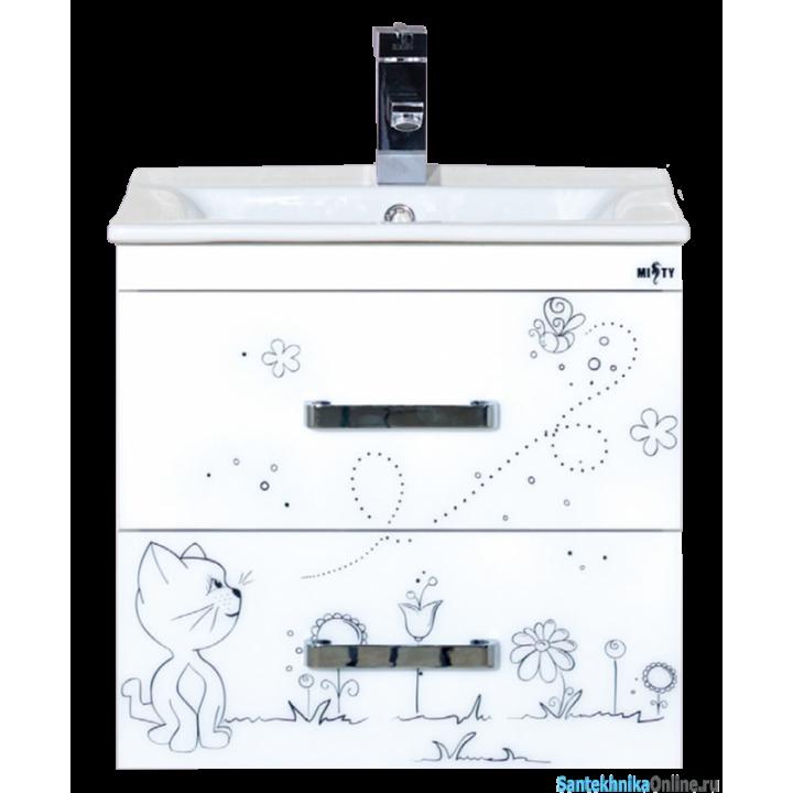 Тумба под раковину Misty Kitty 50 с 2-мя ящиками белый жасмин Л-Кит01050-01П2Я