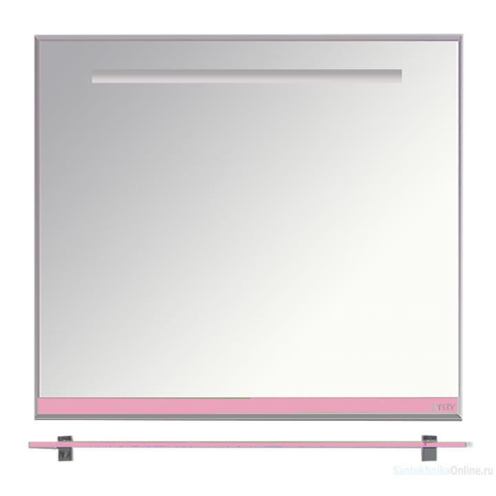 Зеркала Misty Джулия - 90 Зеркало с полочкой 12 мм розовое Л-Джу03090-1210