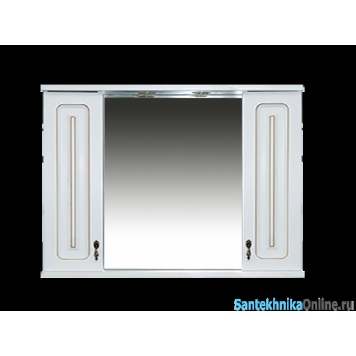 Зеркало-шкаф Misty Вояж -100 Зеркало-шкаф свет белая патина П-Воя04100-013Св