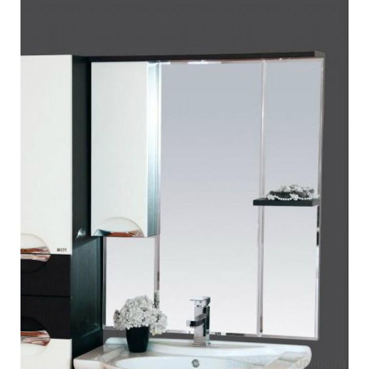 Зеркало-шкаф Misty Франко - 75 зеркало-шкаф Венге/белый (свет) лев. П-Фра04075-252СвЛ