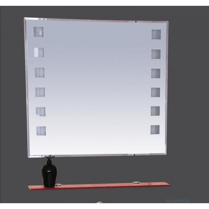Зеркала Misty Эллада -100 Зеркало с красной полочкой (свет) П-Элл03100-43Св