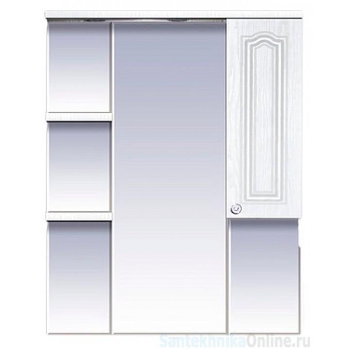 Зеркала Misty Валерия - 85 зеркало - шкаф белое фактур. правое со светом П-Влр02085-37СвП