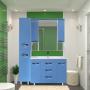 Зеркала Misty Кристи -105 Зеркало - шкаф (свет) голубая эмаль П-Кри02105-061Св