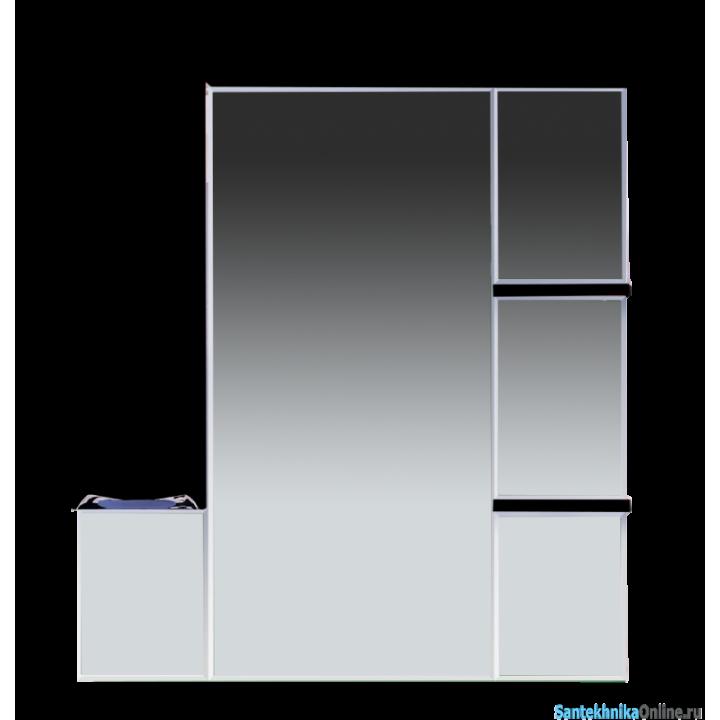 Зеркало-шкаф Misty Кристи 90 L черный П-Кри02090-021СвЛ