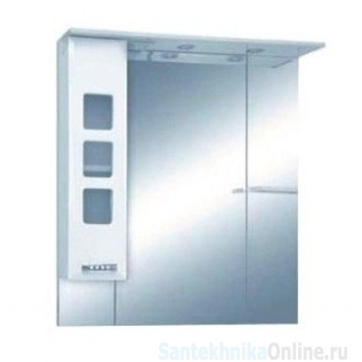Зеркало-шкаф Misty Квадро - 75 Зеркало - шкаф лев. (свет) белая эмаль П-Ква02075-011СвЛ