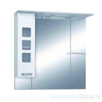 Зеркало-шкаф Misty Квадро - 90 Зеркало - шкаф лев. (свет) белая эмаль П-Ква02090-011СвЛ