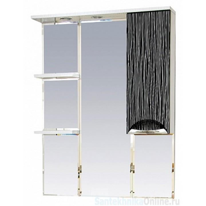 Зеркало-шкаф Misty Лорд - 85 зеркало-шкаф (свет) прав.(комб.бело-черн П-Лрд04085-232СвП