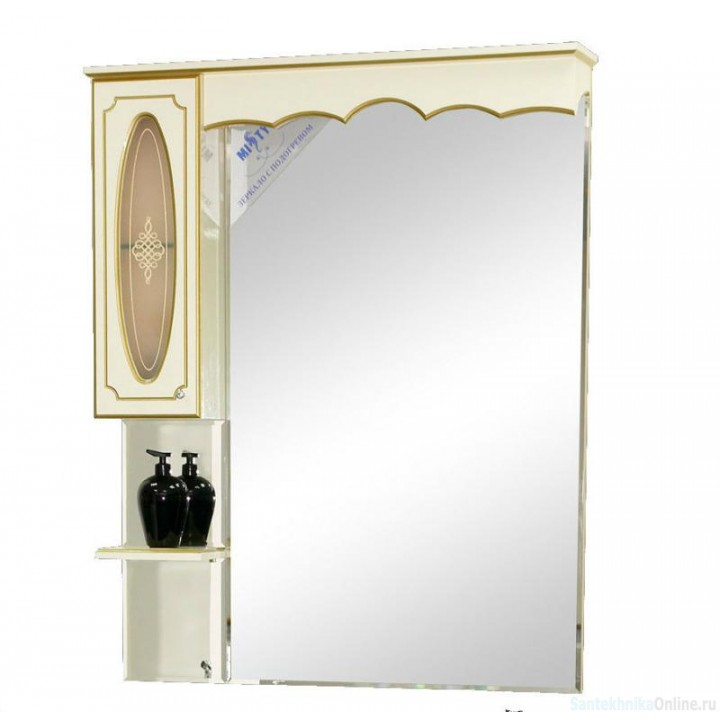 Зеркало-шкаф Misty Монако 90 L бежевый Л-Мнк02090-033Л