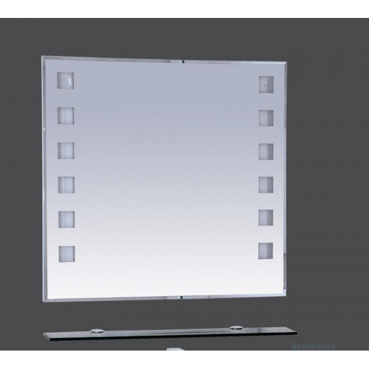 Зеркала Misty Эллада - 75 Зеркало с черной полочкой (свет) П-Элл03075-44Св