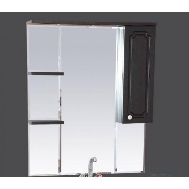 Зеркало-шкаф Misty Александра - 75 зеркало-шкаф прав. (свет) ВЕНГЕ П-Але04075-052СвП