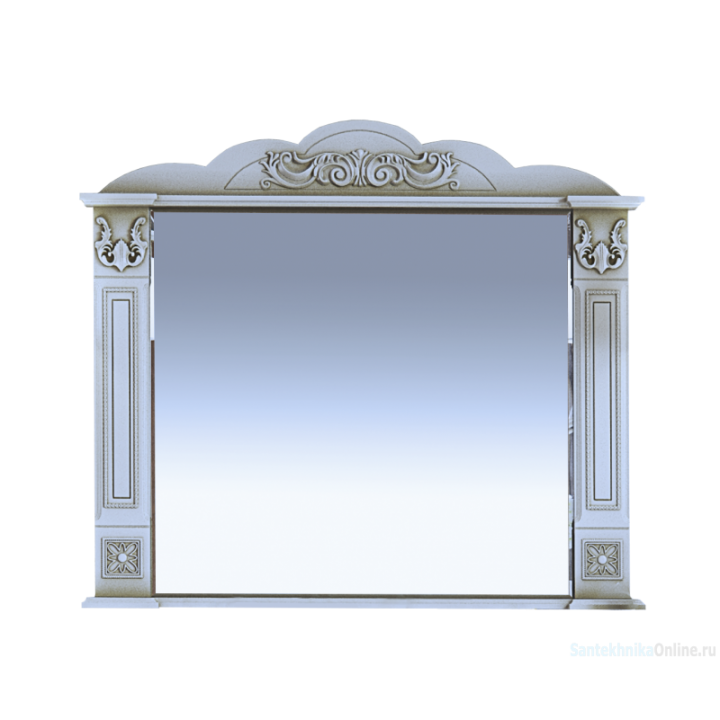 Зеркала Misty Барокко-100 Зеркало белое патина Л-Бар02100-013