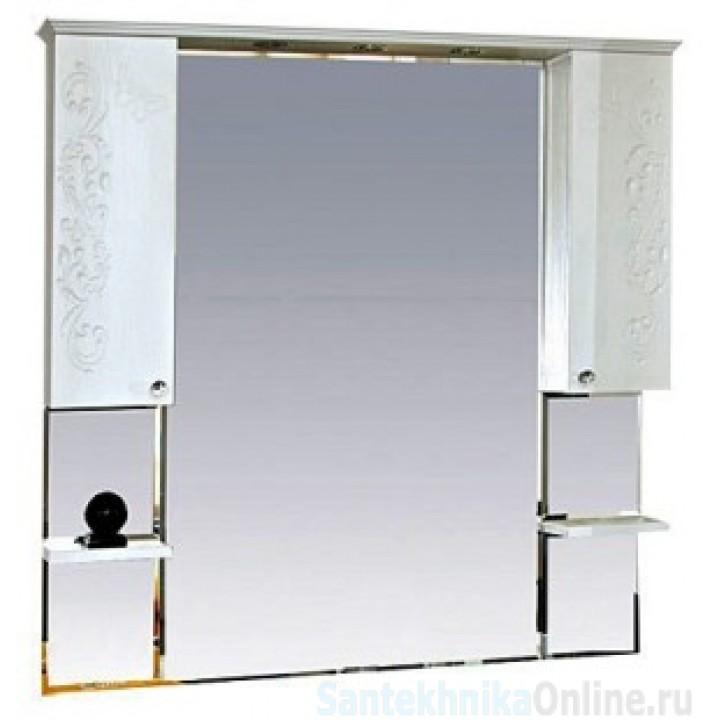 Зеркало-шкаф Misty Вирджиния (Бабочка) -105 зеркало - шкаф белый фактурный П-Вир02105-012